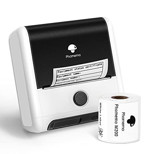 Phomemo M200 Bluetooth Etikettendrucker 3 Zoll 80 mm Tragbarer Thermoetikettendrucker,Für Transparente Etiketten,Barcodes,Einzelhandel,Warenhaus,Foto,Kleidung,Kabel.für Android- und iOS-System , Weiß