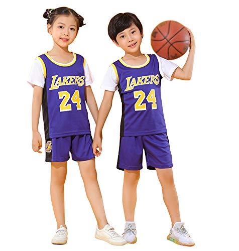Bryant Lakers # 24 Für Kinder-Basketballtrikots, Besticktes Westentraining Sport Ärmelloses Jungen-Mädchen-Oberteil und Shorts 2-teiliges Set-Shirt-Purple-XL