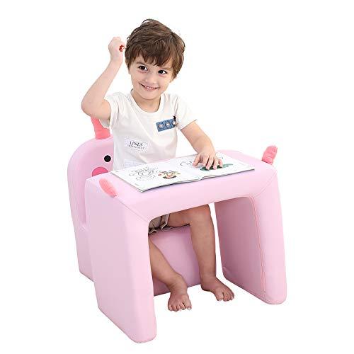Emall Life Sillón para niños Multifuncional, Silla y Mesa para niños/Taburete con una Sonrisa Divertida para niños y niñas (Conejo Rosa)