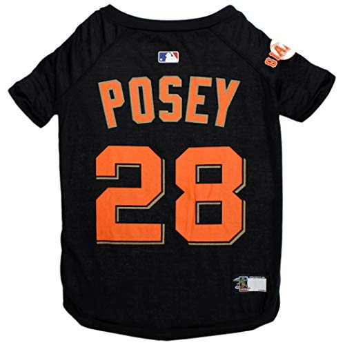 MLBPA Buster Posey #28 TEE Shirt for Dogs & Cats. MLB San Francisco Giants Dog T-Shirt, Small | Sports Dress for Pets | Licensed Sporty Dog Shirt.