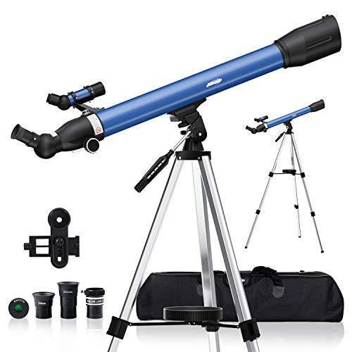 AOMEKIE Telescopio Astronómico 60/700 Telescopio para Niños con Trípode Adaptador Teléfono Ffiltro...