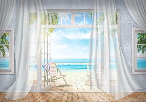 wandmotiv24 Fototapete Balkon Ausblick Meer Strand, braun, XL 350 x 245 cm - 7 Teile, Fototapeten, Wandbild, Motivtapeten, Vlies-Tapeten, Fenster, Palmen, Himmel, Holz M3862