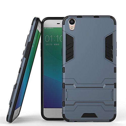 ZHIWEI Das tragbare Handy Tasche Für Oppo R9 Plus Standhalter-Handygehäuse, robuste Kickstand-Rückseite, Schutzhülle (Color : Blue Black)