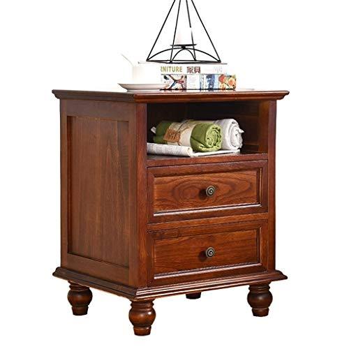 RANRANJJ Mid-Century Side Table,2-Drawer Wood Nightstand,White/Brown Wood American Retro Storage Locker Living Room Sofa Side Cabinet (Color : Brown)