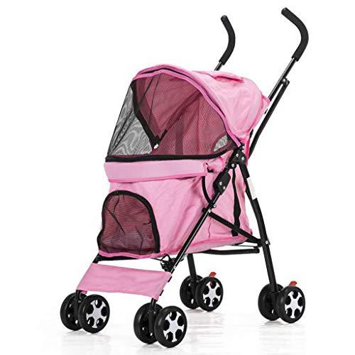 BTIR 4 wielen, vijf kinderwagen voor de hond opvouwbaar met luchtbanden, PINK
