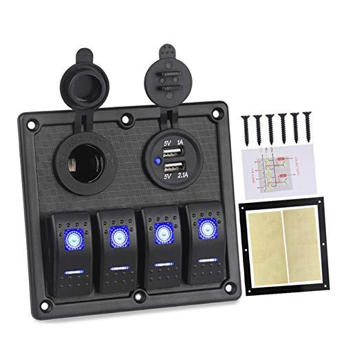 SHOUNAO 12V 24V Panel de interruptores de Rocker 4 Gang 3.1A Cargador USB Cigarette Encendedor Encendedor LED LED Panel DE INTERRAMIENTO Marino AUTOMÁTICO (Color : Blue)