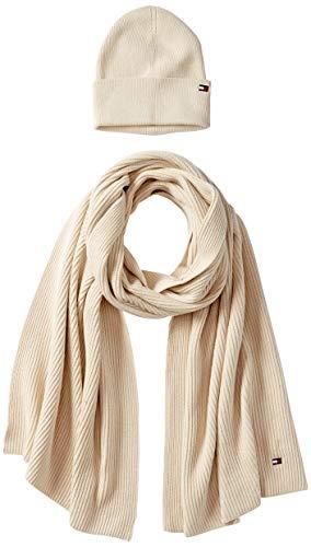 Tommy Hilfiger Damen Essential Knit Beanie & Scarf Gp Winter-Zubehör-Set, Mid Grey Heather, OS