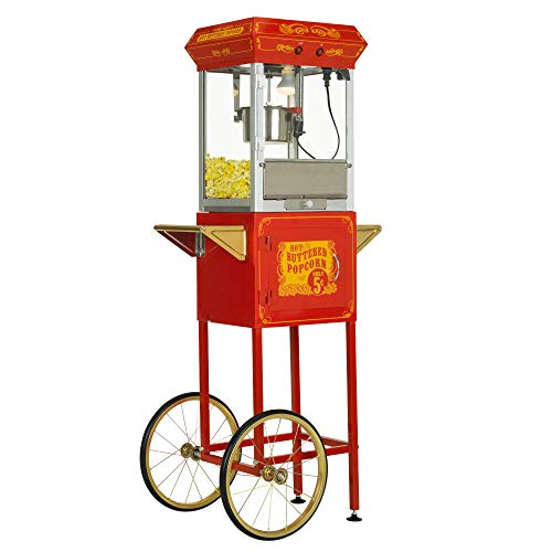 - FunTime Sideshow Popper 4-Ounce Hot Oil Popcorn Machine with Cart, Red/Gold