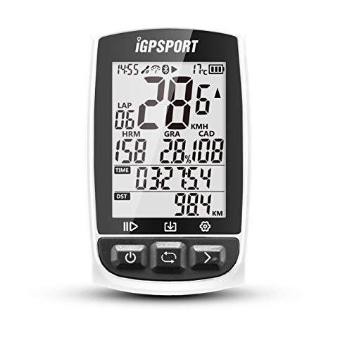 GPS自転車コンピュータANT+機能付きiGPSPORT iGS50E大画面サポートのサイクルコンピュータハートレートモニタとスピードケイデンスセンサ接続 - ホワイト