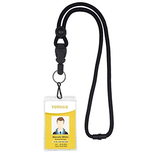 Breakaway Lanyard for Keys,Breakaway Buckle,Safety Breakaway Neck Strap for ID Card Holder in Office or Keys (Black+Transparent Plastic ID Holder, 1 Pack)