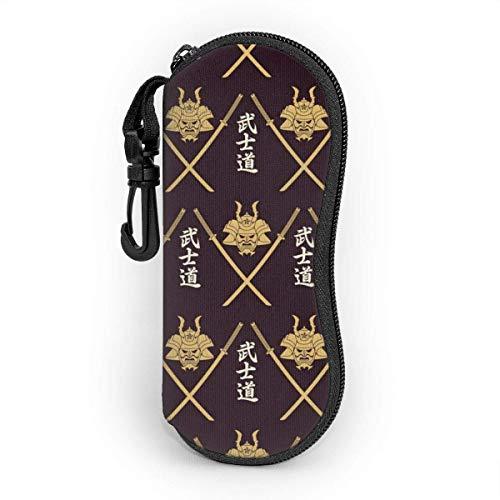 Japanische bushido rüstung persönlichkeit mode männer und frauen sonnenbrille weiche tasche ultraleichte und langlebige neopren tragbare reißverschluss brillenetui brillenetui mit schlüsselhaken