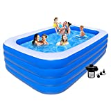 Above Ground Pool for Kids and Adults - ❤4 Rings with Air Pump Rectangle Pool Above Ground Swimming Pool - 10FT Kiddie Pool, Toddler Pool, Inflatable Pool Kids Pools for Backyard,Outdoor,Party