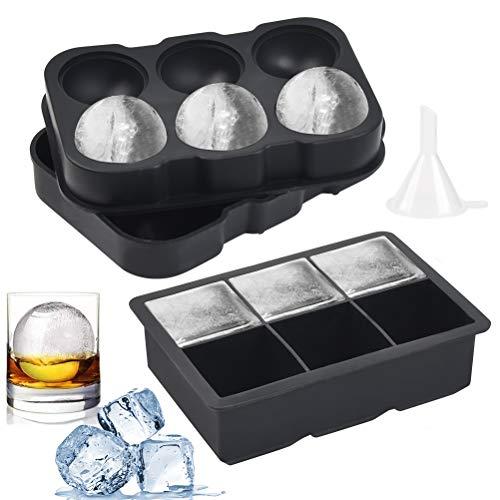 FOCCTS Juego de 3pcs Molde de Silicona Ice Ball Mould Sphere Libre de BPA Cubitos de Hielo para Whisky, Cócteles, Zumo, Chocolate, Dulces, etc