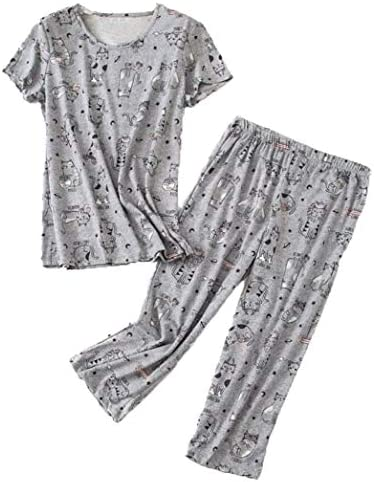 Women s Pajama Set Cotton Blend Short Sleeve Loose Top with Matching Capri Bottoms SY296 Gray product image