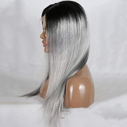 ZQJ Pelucas de cabello lacio gris degradado de alta calidad para mujeres 130% de densidad -20 pulgadas Lace Front Wigs Human Hair Virgin Human Hair