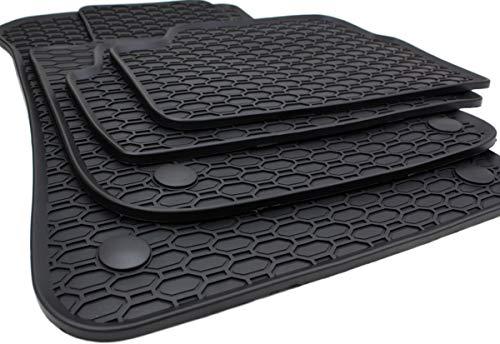 kfzpremiumteile24 Tappetini in gomma Tappetini da pavimento di qualità in gomma nero a 4 pezzi