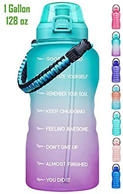 Giotto Large 1 Gallon Motivational Water Bottle with Paracord Handle & Removable Straw - Leakproof Tritan BPA Free Fitness Sports Water Jug with Time Marker-1G-Green/Purple Gradient