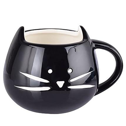 Itian Taza de Porcelana de Animales Gato Hermoso, Lindo Tazón de Cerámica, Café/Té/Leche/Agua (Negro)