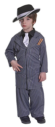 Bristol Novelty Cc384 Costume de Gangster pour Enfant,Taille S,Age 3–5 Ans, Multicolore, Small, Height 110-122 cm