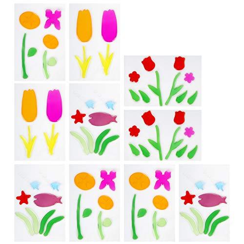COM-FOUR® 10x raamfotobladen, zelfklevende gelstickers voor ramen, keukens, badkamers, herbruikbare stickers als raamdecoraties [selectie varieert]