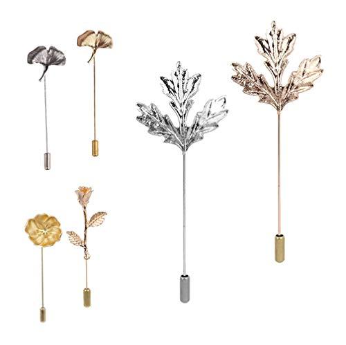 Broschen Pin Revers Pin Boutonniere Set, Lange Nadel Stecker Camellia/Maple Leaf/Ginkgo biloba/Rose Corsage für Anzug Kleid