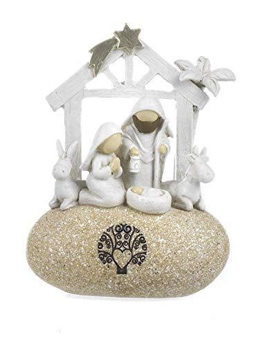 Paben Noel Gruppo Natività Presepe Stilizzato in Resina su Roccia Logo Albero della Vita cm. 12,2