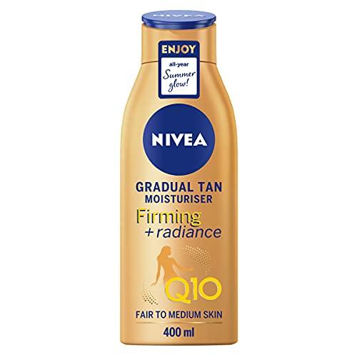 Nivea Q10 rassodante + radiance graduale Tan (400 ml), crema rassodante abbronzante con Q10, sostiene un abbronzatura graduale, idratante abbronzante per una bagliore radiante baciata dal sole