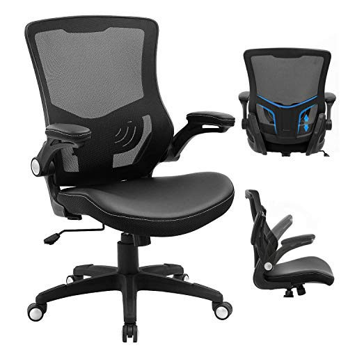 Office Chair Ergonomic Swivel Mesh Mid-Back Computer Desk Chair with Flip-up Arms Office Desk Chair with Adjustable Lumbar Support-Black