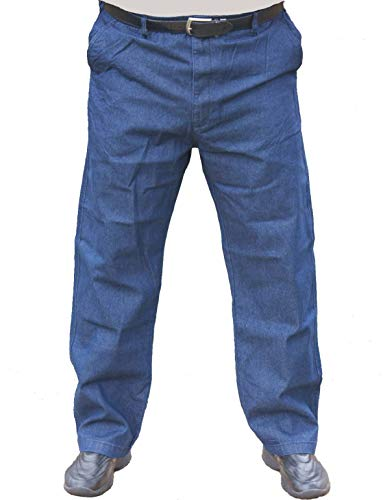 The Senior Shop Men's Full Elastic Waist Denim Jeans with Loops, Zipper and Button 36W x 32L