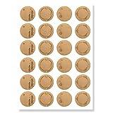 Aufkleber Weihnachten (48 Sticker) - Weihnachtsaufkleber zum Beschriften für Geschenke - Weihnachtssticker Rund - Weihnachts Etiketten für Beschriftung - Selbstklebend - Kraftpapier-Optik...