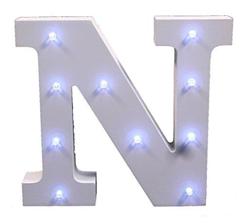 SUAVER Dekorative Alphabet Buchstaben, Dekorative Leuchten Hölzerne Alphabet Buchstaben Weiß MDF, Batteriebetrieben Alphabet Letters, Buchstabe (N)
