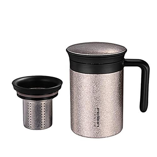 Mug 450Ml Titanium Thermos Cup for Tea Thermo Coffee Mug Car Bottle with Handle and Strainer