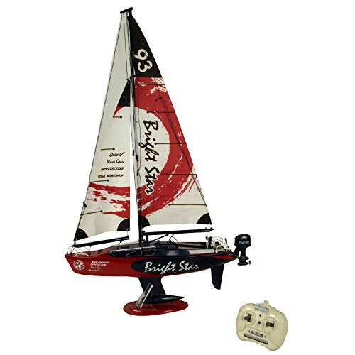 rc sailboat models Golden Bright Full Function Radio Control Boat Vehicle, Red