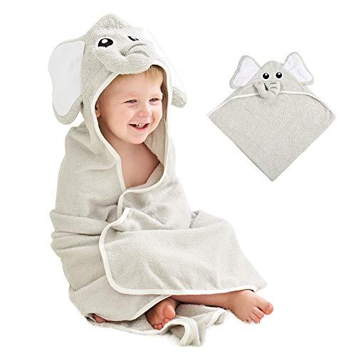 Zwini encapuchadas, toallas de baño unisex de algodón con capucha de elefante bebé toallas perfecto regalo de la ducha de bebé