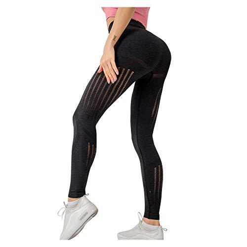 Surfiiiy - Pantalones de yoga para mujer, cintura alta, elásticos, elásticos, para hacer ejercicio, leggings Negro S