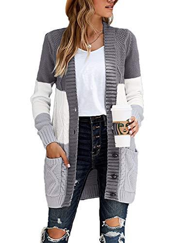 Aleumdr Damen Strickjacke Casual Cardigan Damen Strickmantel Strickpullover Herbst Winter Outwear mit Taschen und Langarm Grau und Weiß XXL
