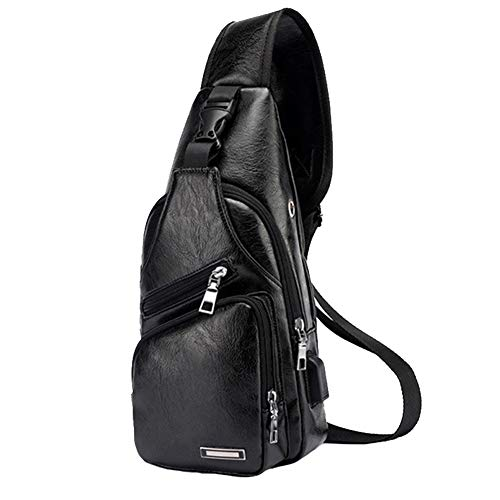 Large Men's Leather Sling Bag Chest Shoulder Backpack Water waterproof Cross body Bag with USB Charging Port for Travel, Hiking ,Cycling (Large Black)