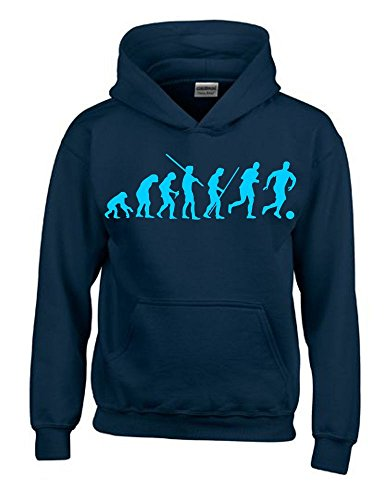 Coole-Fun-T-Shirts Fussball Evolution Kinder Sweatshirt mit Kapuze Hoodie Navy-Sky, Gr.152cm