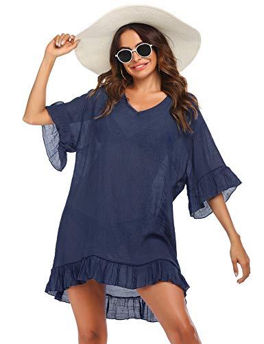 Ekouaer Sexy Plus Size Swimwear Beach Dress Loose Cover ups Bikini Beach Tunic Top(Navy,XX-Large)