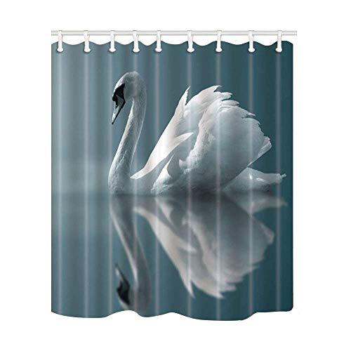Design Duschvorhang Schwäne ruhen Reflexion auf einem See, wasserdichter Stoff, Badezimmerdekor-Set mit Haken