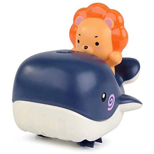 U-A Juguete de baño para niños, Wind Up Swimming Whale Water and Land Juguete de relojería Barco de rociado de Agua Juguete Bañera Juguete de Agua para niños pequeños (Azul)