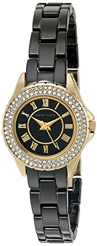 Anne Klein Women's AK/2204BKGB Swarovski Crystal Accented Black Ceramic Bracelet Watch