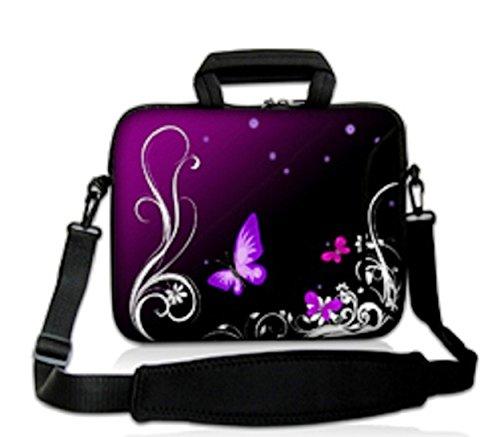 ChaoDa Laptop-Schultertasche (geeignet für Apple MacBook Pro, Dell Inspiron 15 Alienware M15X, ASUS A53 N53 N55 X54, HP dv6, SAMSUNG, Acer, Aspire, Lenovo, Sony Vaio, für Diagonale von 38 cm (15 Zoll) & 39,6 cm (15,6 Zoll), Design 'Violetter Schmetterling'