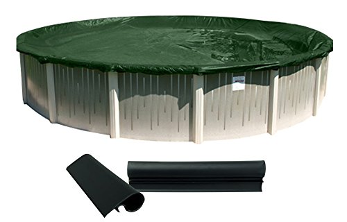 Buffalo Blizzard Supreme Winter Cover for 28-Foot Round Above-Ground Swimming Pools | Green/Black Reversible | 4-Foot Additional Material | Wind Guard Clips Included