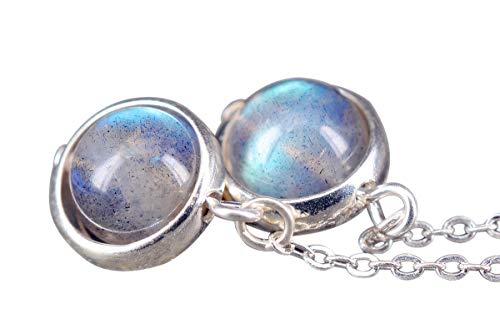 NicoWerk Damen Silber Ohrringe Mondstein aus 925 Sterling Silber Kugel Rund Kreis mit Stein SOR221