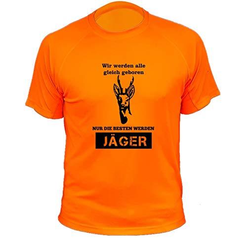 Jagd T Shirt Rehe, Wir Werden alle gleich geboren nur die besten Werden Jäger, Lustiges Geschenk für Jäger (20137, orange, 3XL)