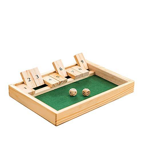 Dudniks Shut The Box Spiel, juego de plegables, juego familiar clásico, tablero...