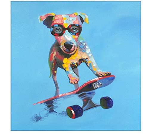 Olieverfschilderij op nummer Kits voor volwassenen, Diy Handgeschilderde canvas schilderijen Beginners voor kinderen Slaapkamers Woonkamer, Kunst Woondecoratie Skateboarden Hond Woondecorati 40x50cm