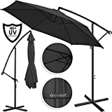 Kesser Alu Ampelschirm Ø 300 cm mit Kurbelvorrichtung UV-Schutz Aluminium Wasserabweisende Bespannung - Sonnenschirm Schirm Gartenschirm Marktschirm Anthrazit Grau