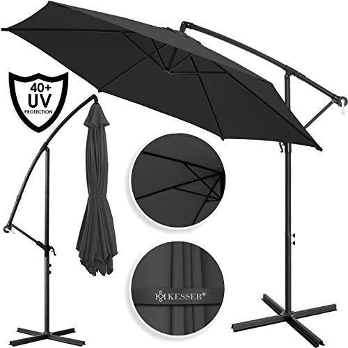 Kesser® Alu Ampelschirm Ø 300 cm mit Kurbelvorrichtung UV-Schutz Aluminium Wasserabweisende Bespannung - Sonnenschirm Schirm Gartenschirm Marktschirm Anthrazit Grau
